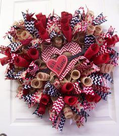 Valentines Wreath,Valentine's Day Wreath,Valentine's Burlap Wreath,Heart Wreath,Love Wreath,Valentines Mesh Wreath by CherylsCrafts1 on Etsy