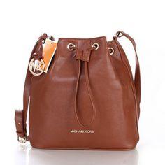 Michael Kors Jules Drawstring Logo Medium Brown Shoulder Bags
