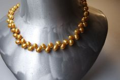 VINTAGE  NATURAL GOLDEN PERLS NECKLACE in Jewelry & Watches, Vintage & Antique Jewelry, Vintage Handcrafted, Artisan   eBay