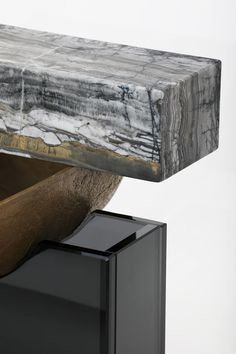 "Detail - ""Unsettled Vessel Two"" in grey glass, cast bronze and marble by Brian Thoreen Table Furniture, Furniture Design, Joinery Details, Grey Glass, Floor Design, Wood Veneer, Form, Design Inspiration, Interior Design"