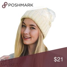 -NEW ARRIVAL-🎉 Ivory PomPom Beanie The perfect hat for winter! Top off any outfit with this cozy ivory beanie. Cozy and sassy, and topped with a white pompom! West Market SF Accessories Hats