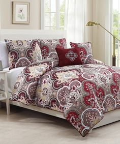Red Chester Comforter Set by Geneva Home Fashions #zulily #zulilyfinds