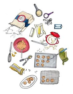Cute illustration for kitchen. baking cookies print by pockettiger on etsy food drawing, cute Recipe Drawing, No Bake Cookies, Baking Cookies, Food Drawing, Baking Tools, Kitchen Art, Food Illustrations, Cute Illustration, Food Art