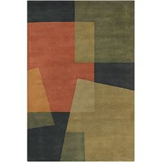 A distinctive geometric pattern styles this wool Mandara rug. The hand-tufted area rug features shades of green and orange.