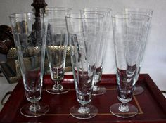 Set of 6 Noritake Bamboo Etched Crystal Pilsners by PeriodElegance, $110.00 www.PeriodElegance.etsy.com