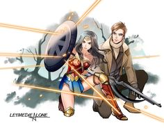 Diana and Steve Trevor Bruce Timm, Justice League, Wonder Woman, Western Anime, Comic Art, Comic Books, Woman Movie, Dc Memes, Dc Characters