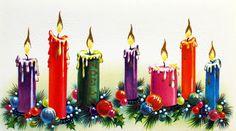 Retro Christmas Card. 60's Christmas. Vintage Christmas Candles