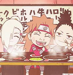 Naruto Sugoi Doryoku (SD) :: Ino, Chouji, and Shikamaru.. They're best friend forever! ;-;