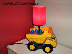 How to make a Dump Truck Light for under $10.00. We already had this Tonka truck and DUPLO. The only thing I needed to buy was the light from Ikea for $6.00