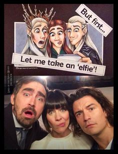 The handsome goofy elves of The Hobbit Legolas was my crush in Lord of the Rings and Thranduil in the Hobbit Lee Pace was phenomenal and I will always have ...