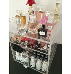 GroopDealz | Acrylic Makeup Organizer 4 Drawer Round Crystal Knob