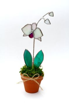 Stained Glass Suncatcher Orchid Unique Teacher Gift by GalaGardens, $24.50