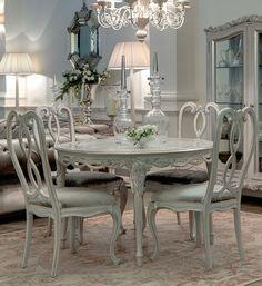 Ornate Designer Round Italian Dining table set