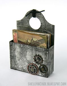 Stamptramp: Father's Day Industrial Caddy + Mini Book. Grungy metal embossed caddy with mini album for Father's Day. @Ranger Industries Metal Foil Tape and Distress Paint, @Eileen Hull @Sizzix Caddy die, Tim Holtz Riveted Metal Texture Fade and idea-ology papers and embellishments.