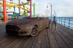 Amazing camouflage by Trina Merry  Santa Monica Pier (Commission for @FordDriveGreen)  Visual Artist: Trina Merry  Model: Felicia Day Vehicle: Ford Fusion Electric  1st Assistants: Michael Rosner, Melissa Hoffmann, David Gilmore (Day 2) 2nd Assistants: Renee Hamilton, Tamiko Carrillo (Day 1) & Claire Piao (Day 2)