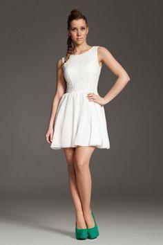 Koronkowo-szyfonowa sukienka ecri_k007 r. M, L / sukienki / SUKIENKI / ODZIEŻ DAMSKA - sklep sukienki odzież online Nikoletta.pl