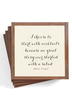 'Start with Cocktails' Coasters (Set of 4)