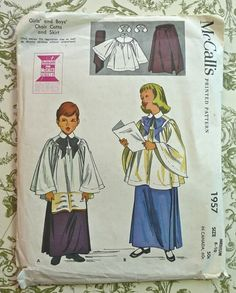 McCalls 1957 Vintage 1950s Choir Cotta and Skirt by Fragolina, $8.00