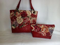 Sac Samba en simili rouge et jacquard roses cousu par Nadeige - Patron Sacôtin