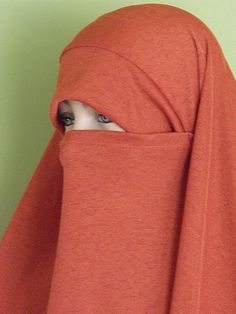 Pak Chador Khimar with attached Niqab  - Burnt Orange hijab. $18.00, via Etsy.