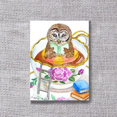 ooak-Owl ACEO original painting buy 3 get 1 free Owl by asho