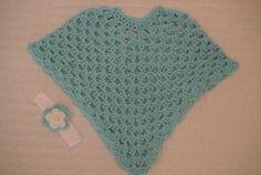 Crochet Children's Poncho and headband on Etsy, $39.00