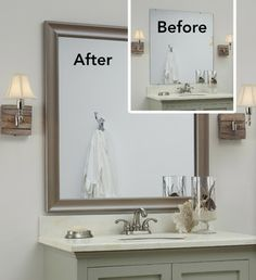 The Art Gallery A MirrorMate frame in the Waterside style was added to the plate glass mirror while on