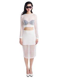 White Bright Stripe Long Sleeves Crop Top - Choies.com