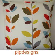 Pillow Cover Stem Leaves Cushion Sham Case Slip Pillowcase Red Blue Orange Brown Mustard NEW basement! 20x20 Pillow Covers, Cushion Covers, Pillow Shams, Geometric Cushions, Geometric Pillow, Orange Leaf, Orange Brown, Orange Blinds, Blue Nails