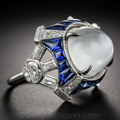 Art Deco Moonstone Sapphire and Diamond Ring