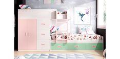 Dormitorio tren juvenil artic rosa menta