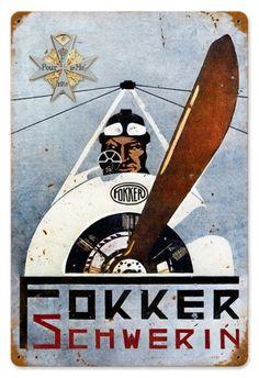 Vintage and Retro Wall Decor - JackandFriends.com - Retro Fokker Schwerin Tin Sign, $39.97 (http://www.jackandfriends.com/vintage-fokker-schwerin-metal-sign/)