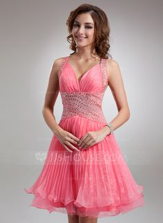 Homecoming Dresses - $128.99 - A-Line/Princess V-neck Knee-Length Organza Tulle Homecoming Dress With Ruffle Beading (022009630) http://jjshouse.com/A-Line-Princess-V-Neck-Knee-Length-Organza-Tulle-Homecoming-Dress-With-Ruffle-Beading-022009630-g9630
