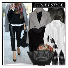 """""""Leather pants street style"""" by gifra ❤ liked on Polyvore featuring J Brand, Aquilano.Rimondi, Century Seven and Yves Saint Laurent"""