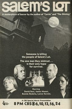 With David Soul, James Mason, Lance Kerwin, Bonnie Bedelia. A novelist and a young horror fan attempt to save a small New England town which has been invaded by vampires. Sci Fi Movies, Scary Movies, Good Movies, Movie Tv, Iconic Movies, Halloween Movies, Comedy Movies, Halloween Fun, Horror Movie Posters
