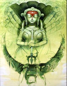 'Mahisasurmardini' - Dipankar Ray - Wter Colour - x Kali Goddess, Goddess Art, Durga Painting, Indian Contemporary Art, Watercolor Art Face, Spiritual Paintings, Bangla Quotes, Buddhists, Spirited Art