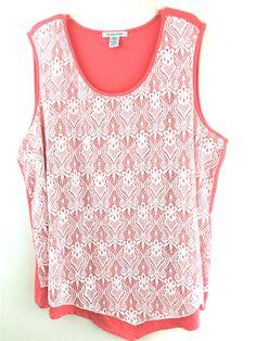 Womens Plus 3X Top Lace Design Salmon Sleeveless Blouse Shell 99 Jane Street #99JaneStreet #KnitTop #Casual