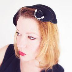 40s Black Felt Asymmetric Hat with Rhinestone Decoration