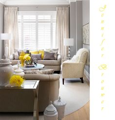 gray grey white yellow modern chic classic living room design