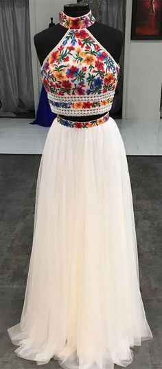 Hot Sale Glorious Two Pieces Prom Dresses Two Piece High Neck Embroidery White Long Prom Dress White Prom Dress, High Neck Prom Dress, Prom Dress Two Piece, Prom Dress Long, Prom Dresses Prom Dresses Long Wite Prom Dresses, Indian Gowns Dresses, Mexican Dresses, Pretty Dresses, Dress Prom, Dress Long, Long Dresses, Party Dress, High Neck Prom Dresses