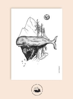 Handdrawn whale illustration#larabispinck #larabispinckillustration #whale #dotwork #tattooillustration #tattoo #art #illustration #naturelover #sea #black #moon #trees #mountains #abstract #animal #poster #print #paperstuff #stationary #posterillustration #structure