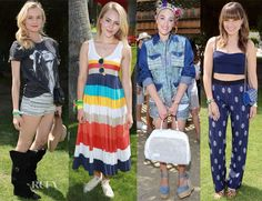 Diane Kruger donned top-to-toe H AnnaSophia Robb wore a beach-y, striped Lacoste dress and a pair of sneakers. DJ Mia Moretti- I'm still trying to figure out! :/  Sophia Bush coupled together season's boldest trends—midriff-baring top to printed pajama pants and leopard-print kitten bedroom slippers by Charlotte Olympia.