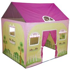 Cottage Play House Play Tent by Pacific Play Tents, Soft colors combine with beautiful landscape to help create the most imaginative play environment around. 70 Denier nylon with PE coated fiberglass shock corded poles. Cozy Cottage, Cottage Homes, Family Camping, Tent Camping, House Tent, Flower Window, Imaginative Play, Outdoor Play, Soft Colors