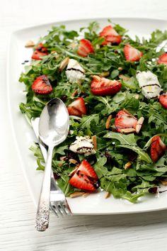 baby arugula salad w/ strawberries, toasted almonds & goat cheese + maple-balsamic vinaigrette