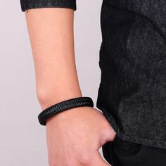Braided Leather Bracelet Stainless Steel Magnetic for Men | jewelry