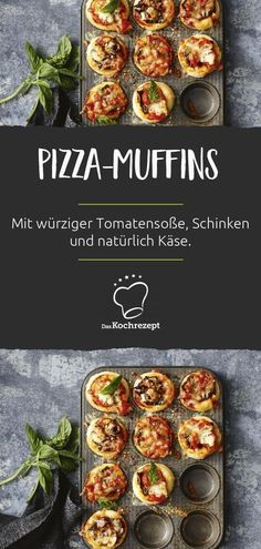 Dann kommt dieses Pizza-Muffins R… Looking for a delicious party snack? Then this pizza-muffin recipe comes along. Airy yeast dough, spicy tomato sauce and melted cheese – simply irresistible! Pizza Recipes, Seafood Recipes, Snack Recipes, Cooking Recipes, Pizza Snacks, Casserole Recipes, Gourmet Recipes, Easy Recipes, Chicken Recipes