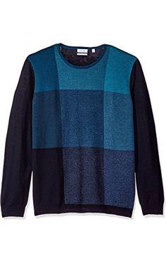 Calvin Klein Men's Merino Bridseye Plaid Crew Neck Sweater, Roma Combo, 2X-LARGE ❤ Calvin Klein Men's Collections