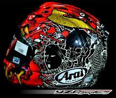 Racing Helmets, Motorcycle Gear, Motorcycle Helmets, Football Helmets, Arai Helmets, Pinstripe Art, Helmet Paint, Custom Helmets, Helmet Design