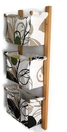 Wall hanging organizer - with 3 pockets - Green olives, leaves in black and beige colour - IKEA MAJKEN beige fabric