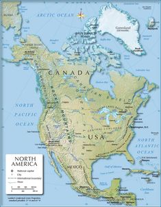Shaded Relief Map of North America (1200 px) - Nations Online Project
